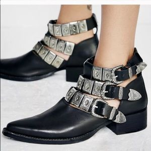 Jeffrey Campbell Etched Western Buckle Booties